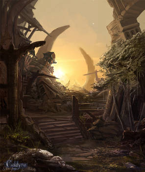 Collapsed city ruins.