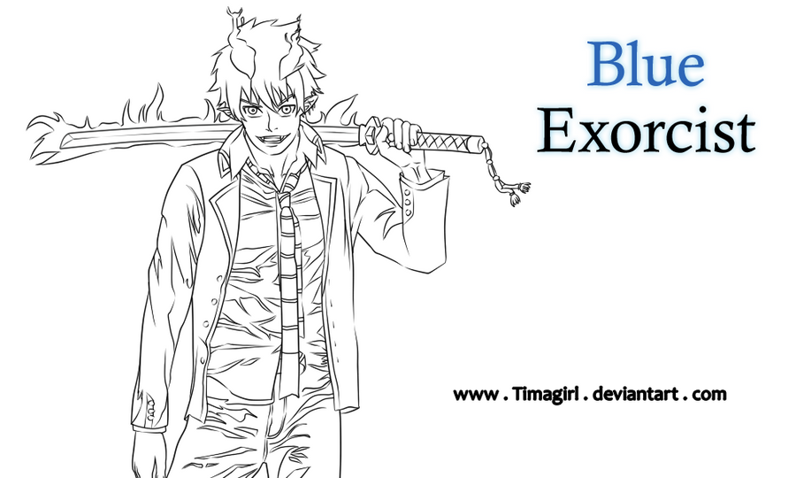 lineart blue exorcist by timagirl on deviantart Vampire Knight Coloring Pages Black Butler Coloring Pages