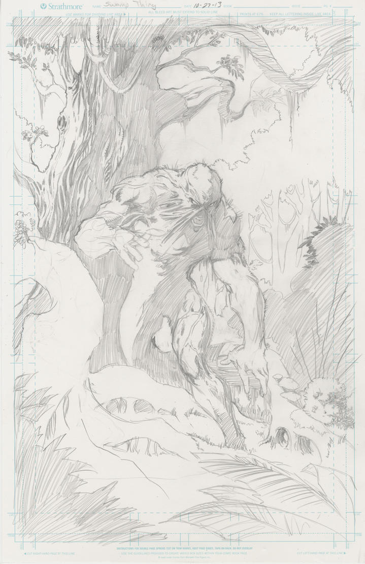 Old Swamp Thing pencils by KenHunt