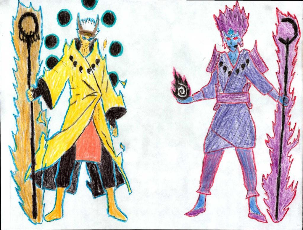 New Six Paths Mode Sasuke and Naruto by syareow on DeviantArt