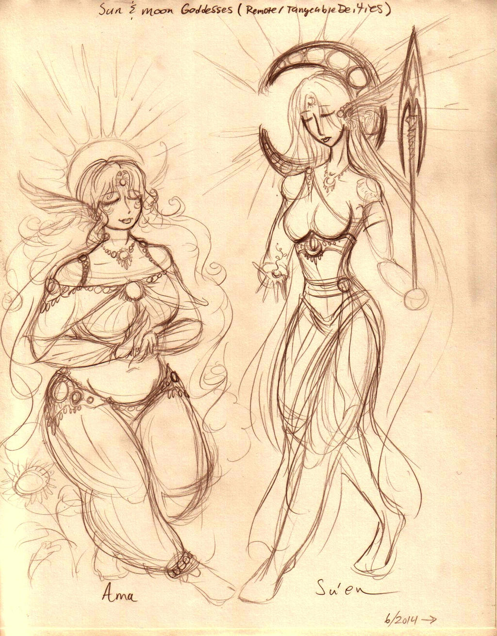 Sun and Moon goddesses by E1L0n3wy