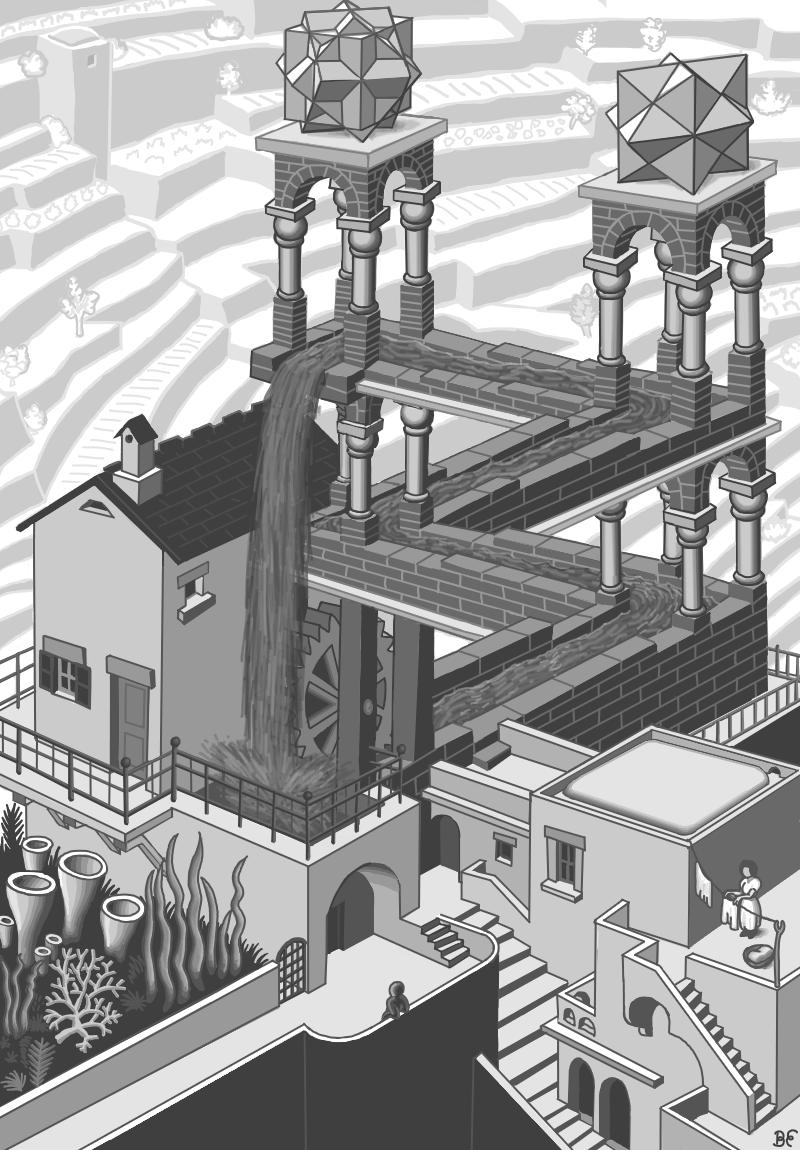 M C Escher S Waterfall Paintopia Version By Komojo On Deviantart