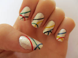 Simple Olympic Nails by JofoKitty