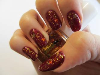 Autumn Glitter Nails by JofoKitty