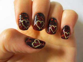 Dark Hearts Nails by JofoKitty
