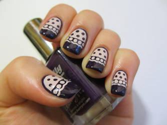Simple Doily Nails by JofoKitty