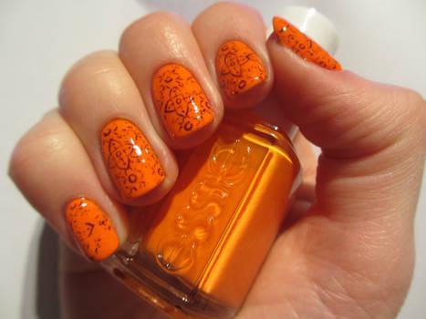 Orange Rough Print Nails