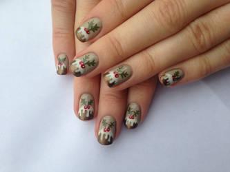 Christmas Pudding Nails