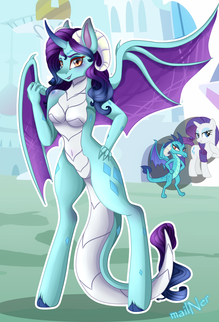 Rarity x Ember Fusion by mailNer