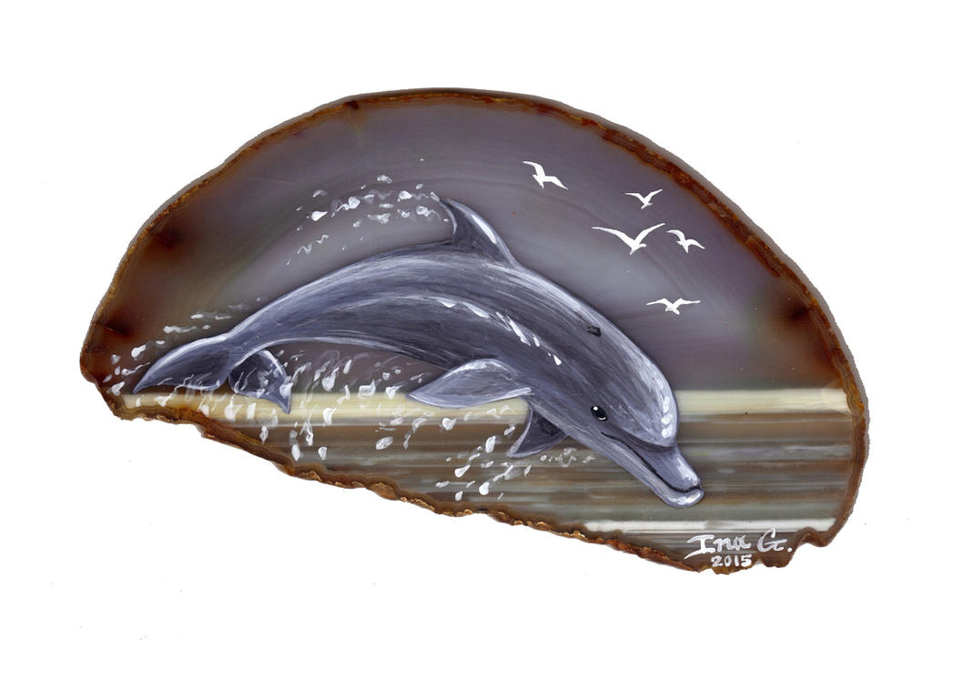 Dolphin on Agate by Nevuela