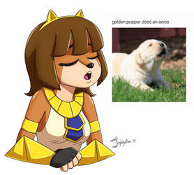 golden pupper does an awoo by jeglegator