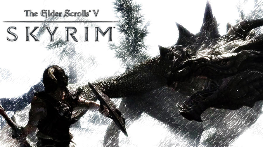 Skyrim Wallpaper - Dragon by Aenek-Lycaon