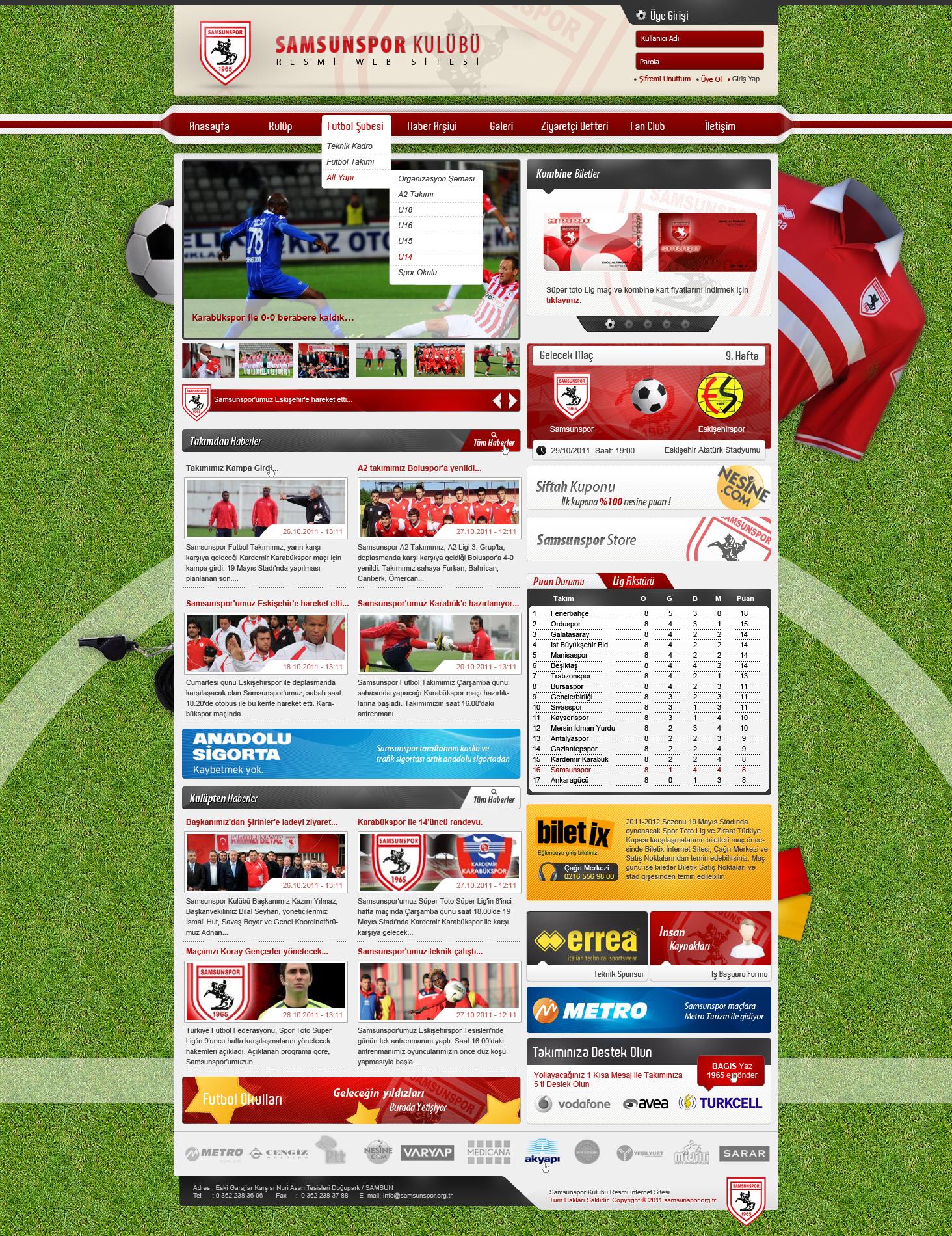 Samsunspor web arayüz tasarımı