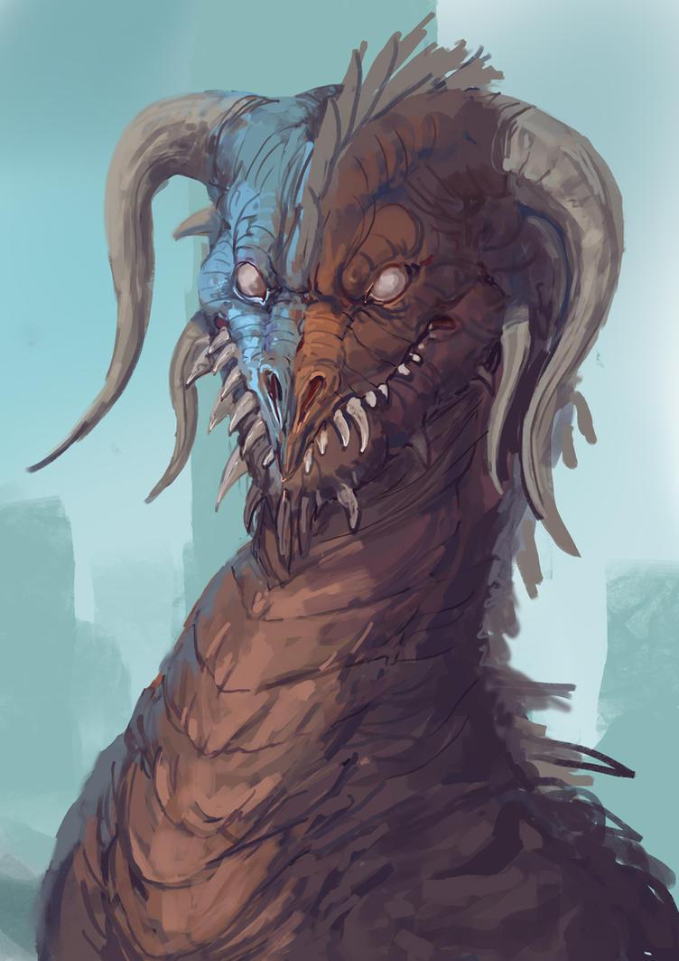 Dragon Portrait Sketch by Zipfelzeus