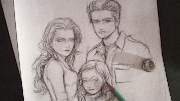 Bella, Nessie and Edward by Rochioo
