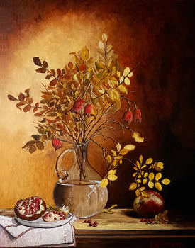Still life with dried leaves