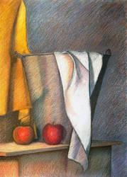 Still life - Metallic bucket, fabrics and apples
