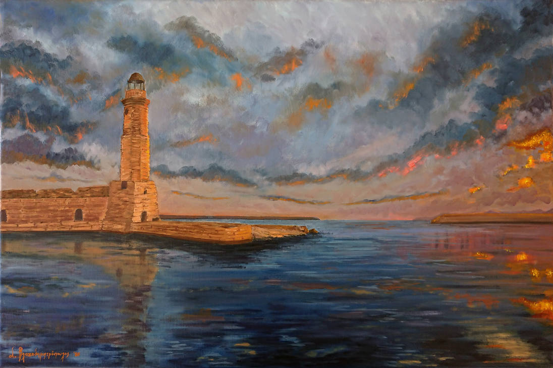 Lighthouse of Rethymno at sunset