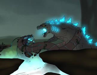 Godzilla Vs Mordremoth by xXBlueFireDragonXx