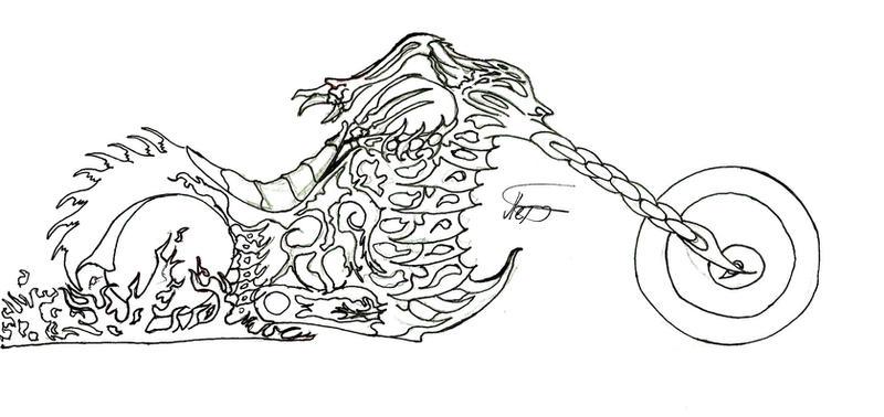Ghost Rider Bike Sketch By Crackraven On Deviantart