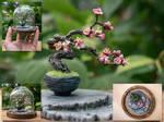 Handmade Cherry blossom bonsai tree (Glass bell)