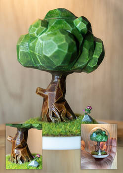 Polymer clay low poly tree (plastic bell)