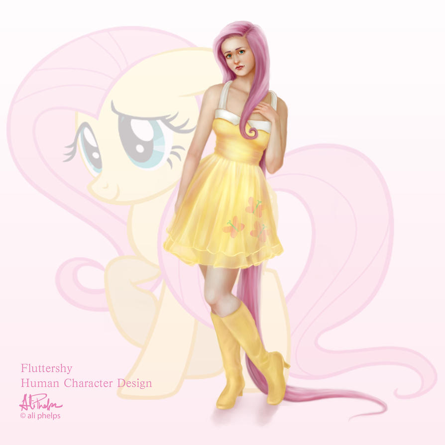 Fluttershy Human Character Design by aliphelps on DeviantArt