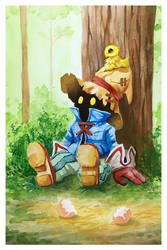 Final Fantasy IX fanart Vivi and Chocobo