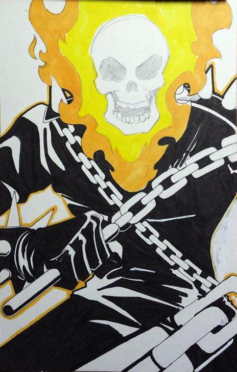 Inktober Day# 11 Ghost Rider: by Courtnee-Blackmon