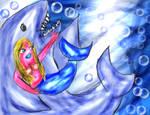 Niggi Mermaid and shark friend.