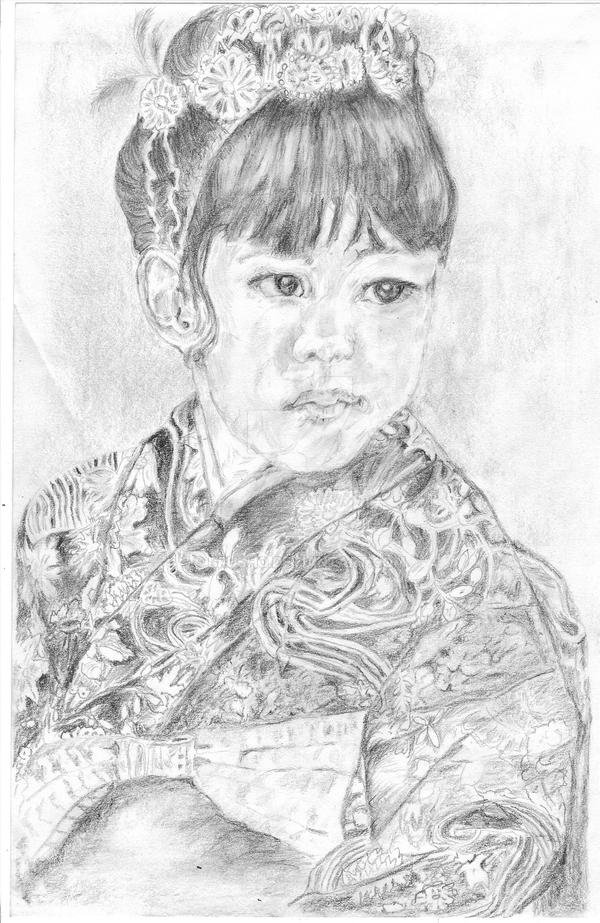 pencil drawing of geisha girl by brusho