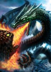 Dragon vs Adamantois by Ommega