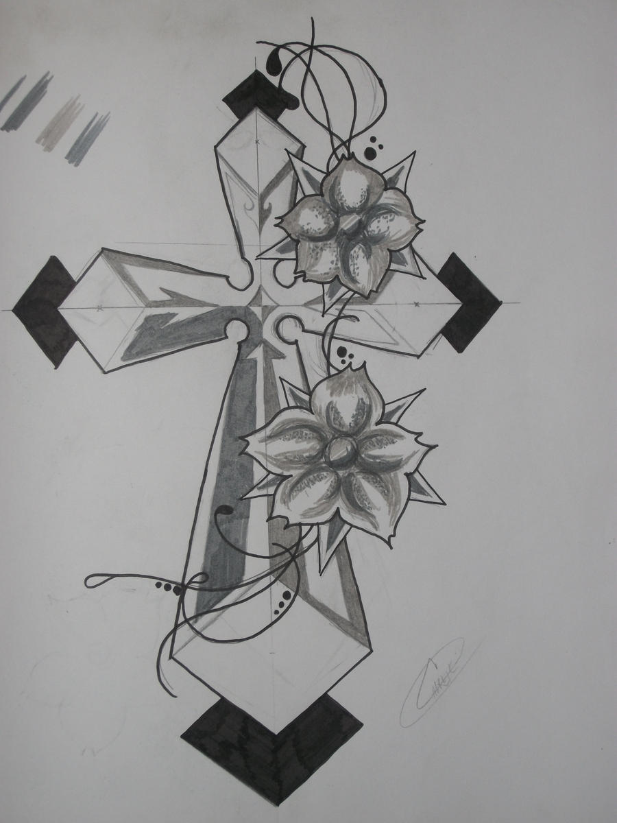 Tattoo Cross and Flowers by