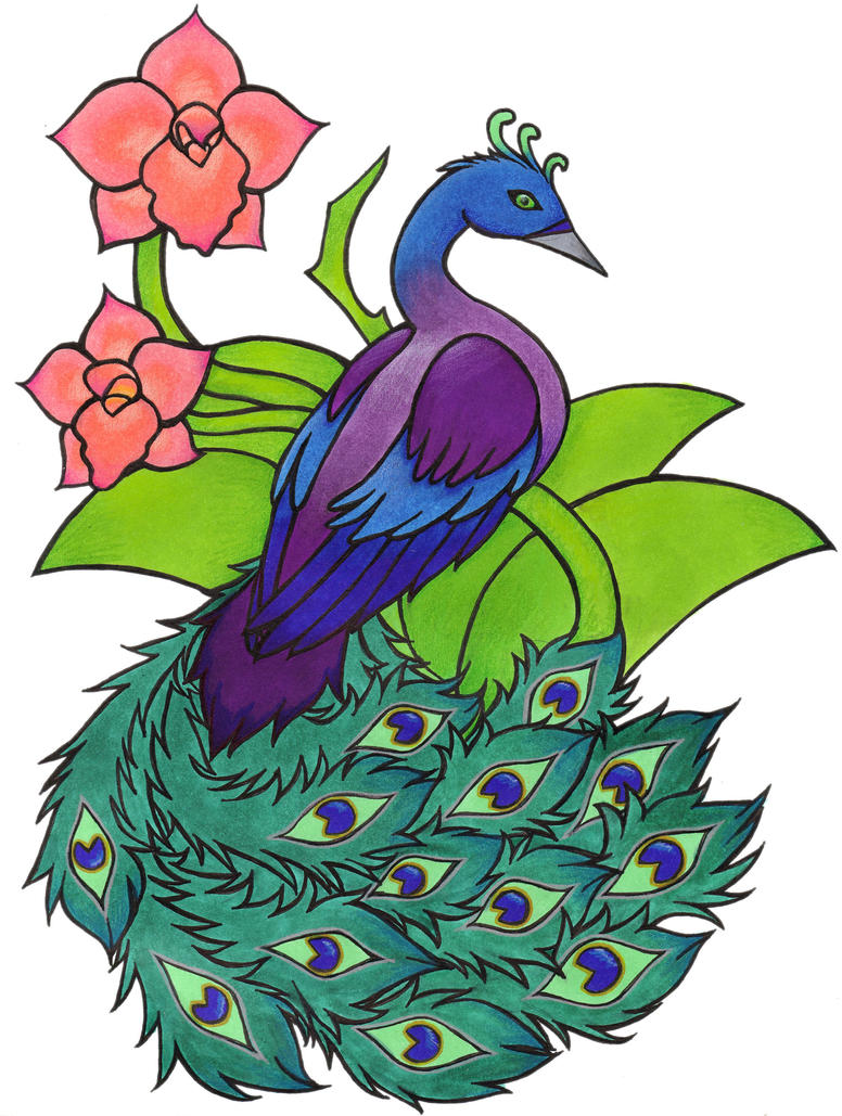 Peacock and Orchids by beldame