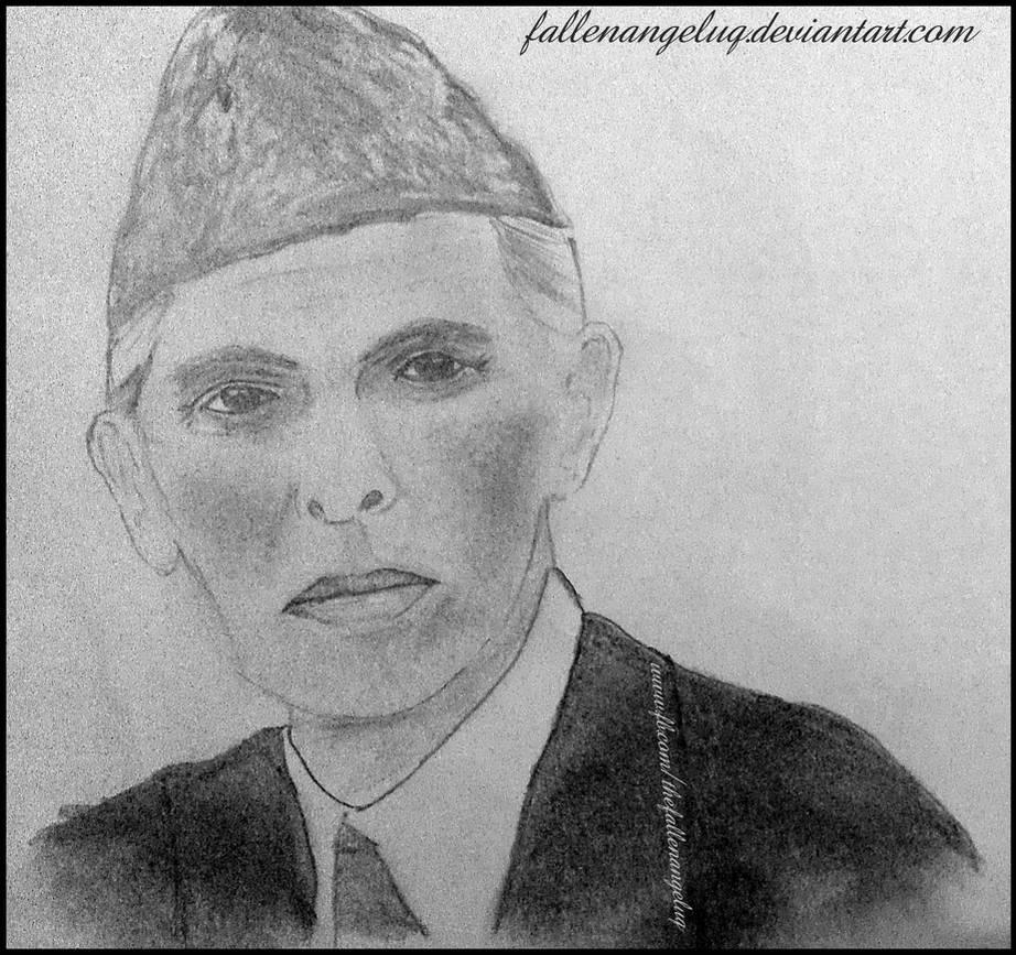 Quaid e azam muhammad ali jinnah drawing by fallenangeluq on deviantart