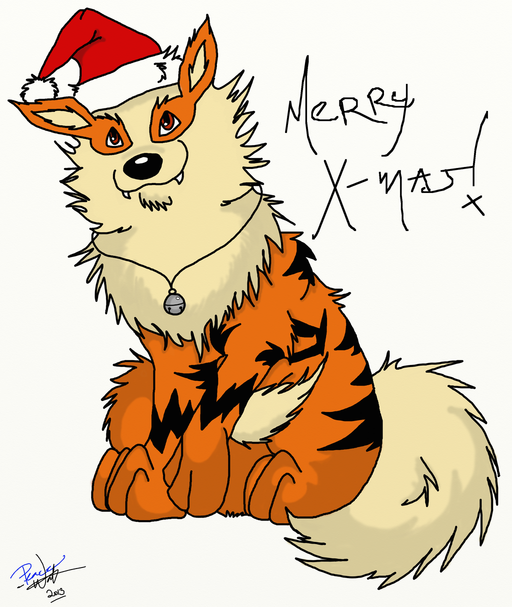 Arcanine says merry christmas by peacewolfcreations on - Arcanine pics ...