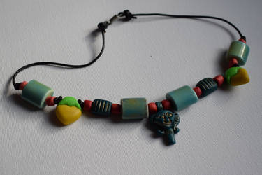 Kemetic necklace with Hathor amulet