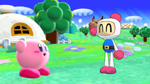 MMD - Pink Puffball meets the White Bomber (REDUX) by SuperAwesomeHamtaro