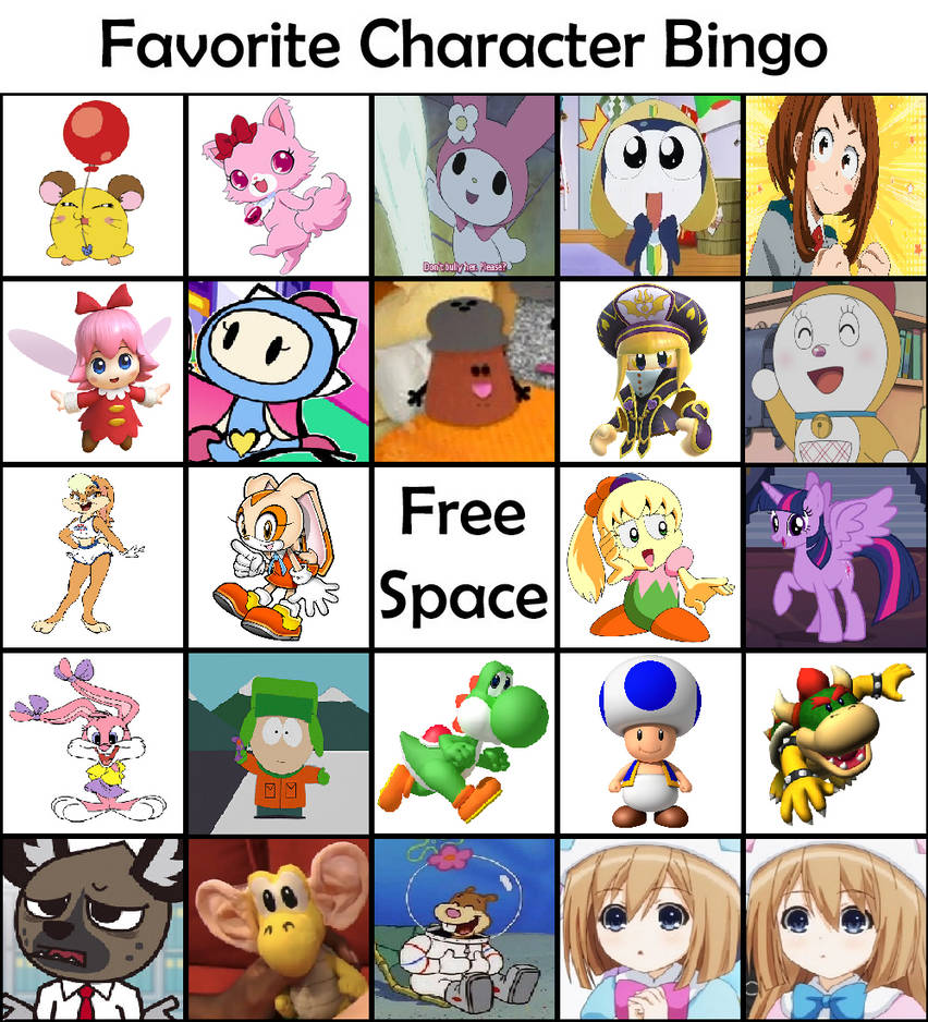 My Favorite Character Bingo by SuperAwesomeHamtaro