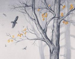 Foggy Trees by Alina-Kurbiel