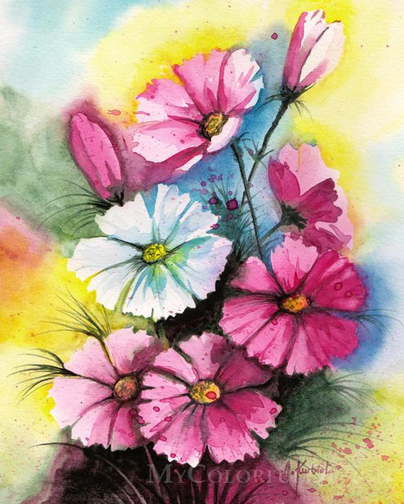 Cosmos Flowers by Alina-Kurbiel