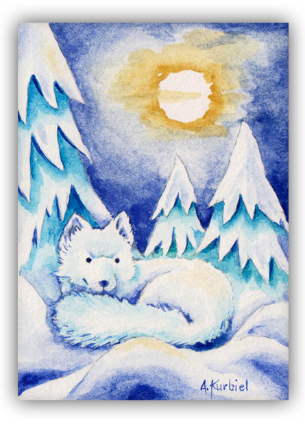 White Fox - ACEO by Dusty-Feather