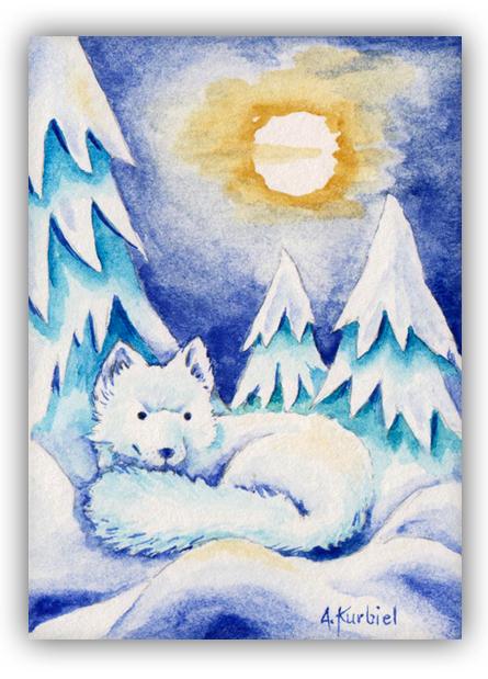White Fox - ACEO by Alina-Kurbiel