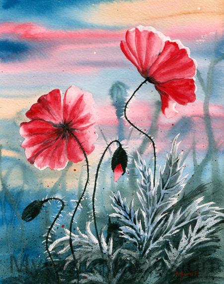 2 Poppy Flowers by Alina-Kurbiel