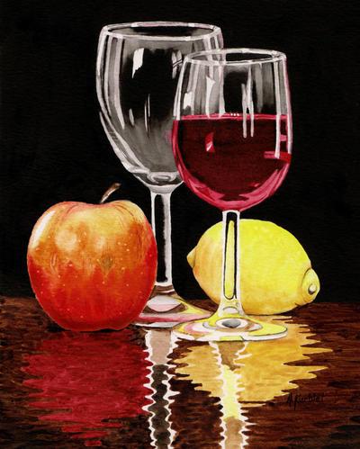 Wine glass and Fruits by Alina-Kurbiel