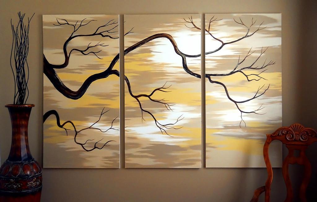 Tree Branch Triptych by Alina-Kurbiel
