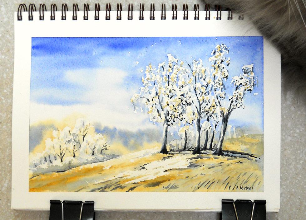 Frosty Birches by Alina-Kurbiel