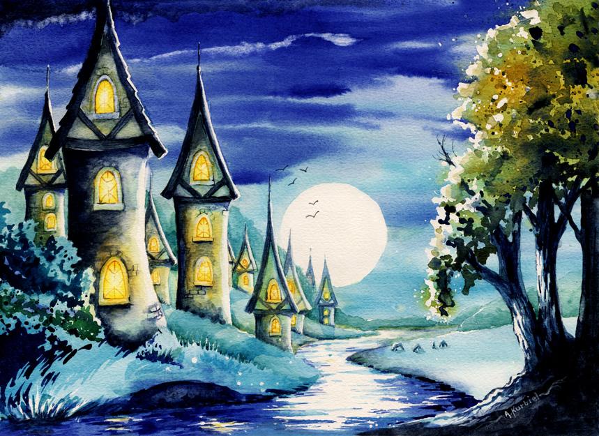 Moonlight Village by Alina-Kurbiel