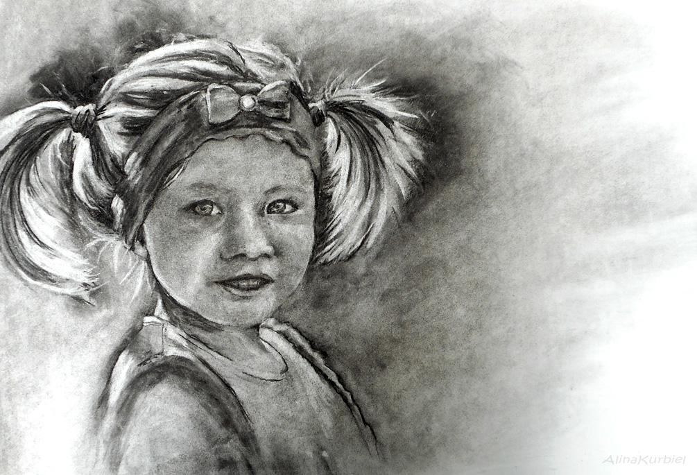 Girl with Ponytails by Alina-Kurbiel
