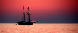 Schooner in the sunset